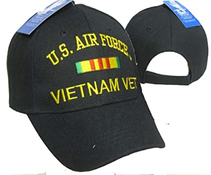 007d46fda0f U.S. Air Force Vietnam Vet Veteran Black Ribbon Embroidered Cap Hat 611C