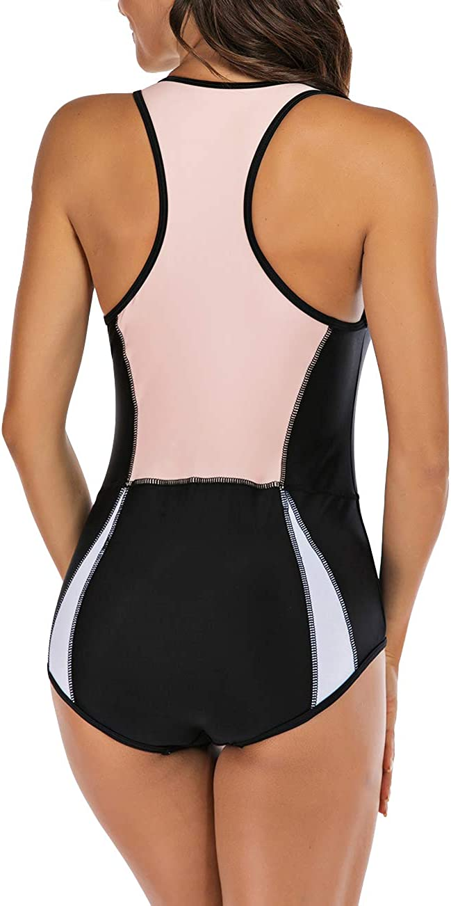 SEBOWEL Women Sleeveless Striped Print Zip Front Rash Guard One Piece Swimsuit Athletic Swimwear