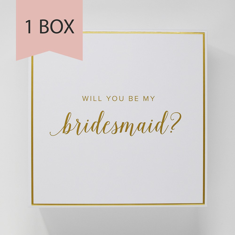 Bridesmaid Proposal Box with Gold Foiled Text | Set of 1 Empty Box | Perfect for Will You Be My Bridesmaid Gift and Wedding Present