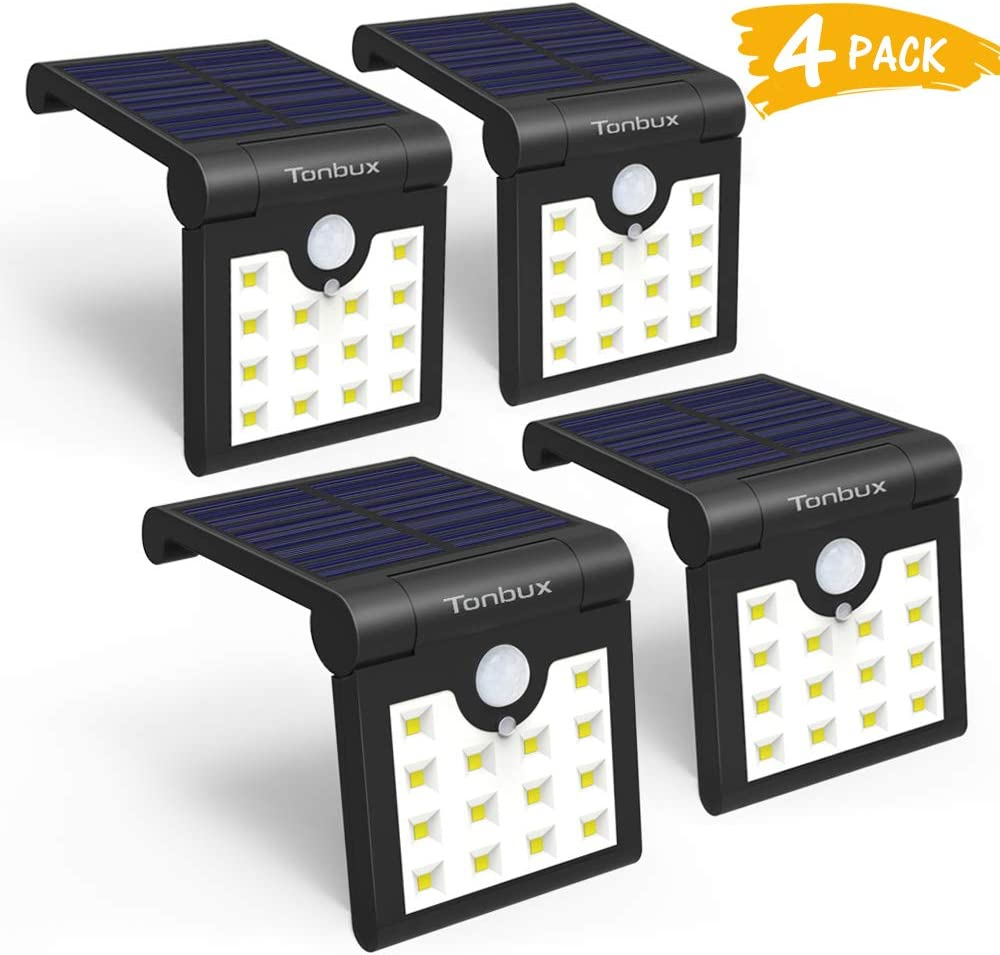 TONBUX Solar Lights Outdoor Wireless Waterproof Motion Sensor Lights 270 Degree Wide Angle LED Security Solar Light for for Step Stairs Yard Garden Garage Deck 4PACK