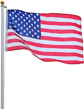 Amazon Com Yeshom 30 Ft Upgraded Sectional Aluminum Flagpole 15 Gauge 24 30mph 3 X5 Us American Flag Ball Fly 2 Flags Outdoor Garden Outdoor
