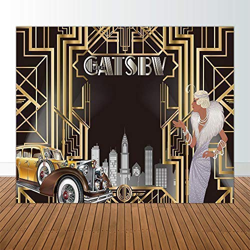 Allenjoy 10x8ft The Great Gatsby Themed Backdrop for Adult Celebration Retro Roaring 20s Graduation Party Art Fashion Decor Birthday Wedding Decoration Pictures Background Supplies Photo Booth Prop -