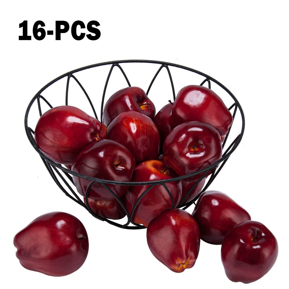 "Toopify 16PCS Artificial Red Apples, Fake Apples Lifelike Simulation Fruit for Home Kitchen Table Basket Decoration, 3.43"" x 2.95"""