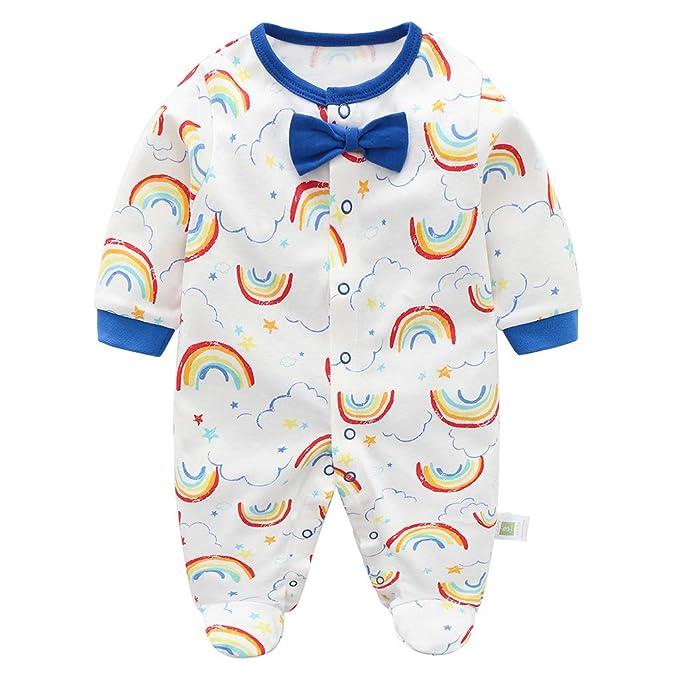 270468c9be Bebé Pijama de Algodón Mameluco Niñas Niños Pelele Mono Manga Larga Trajes  0-12 Meses  Amazon.es  Ropa y accesorios
