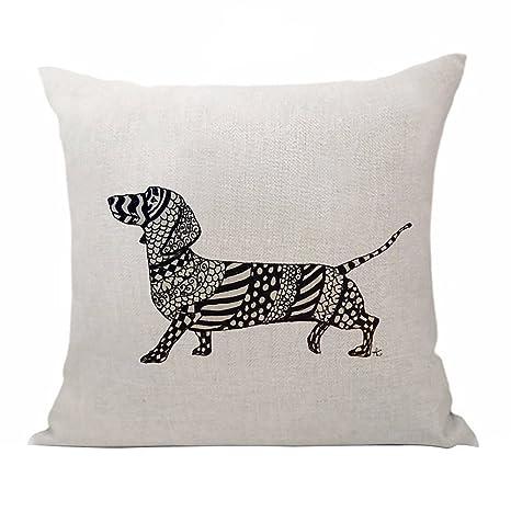 dontdo Lovely funda de almohada de lino cintura almohada de perro salchicha Cafe casa coche sofá
