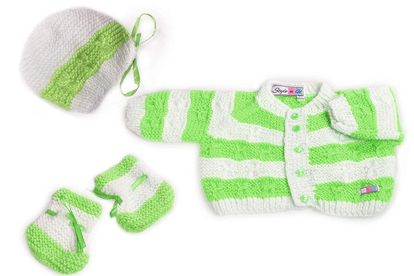 364da619a SnU Hand Knitted Cabled Stripes Baby Sweater