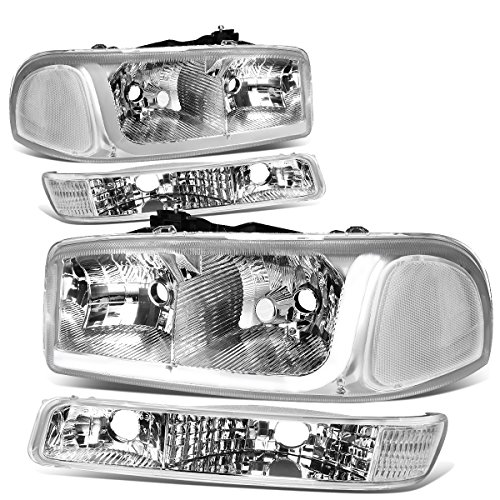 For 99-07 GMC Sierra / 00-06 Yukon LED DRL Chrome Housing Clear Corner Headlight w/Bumper Lights/Lamps - Pair