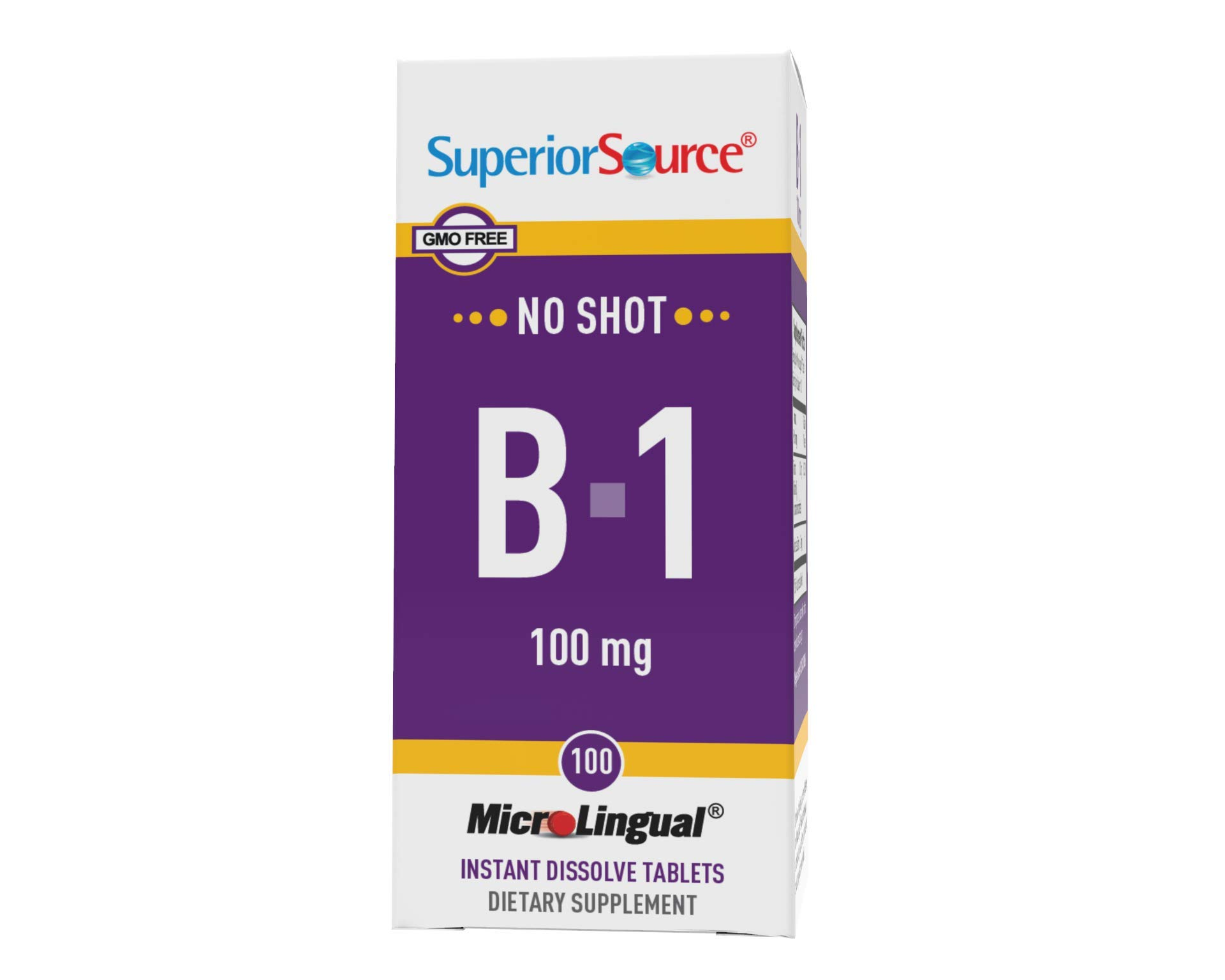 Superior Source Vitamin B1 (Thiamin), 100 mg, Under The Tongue Quick Dissolve Sublingual Tablets, 100 Count, Increased Metabolism and Energy Production, Nervous System Support, Non-GMO