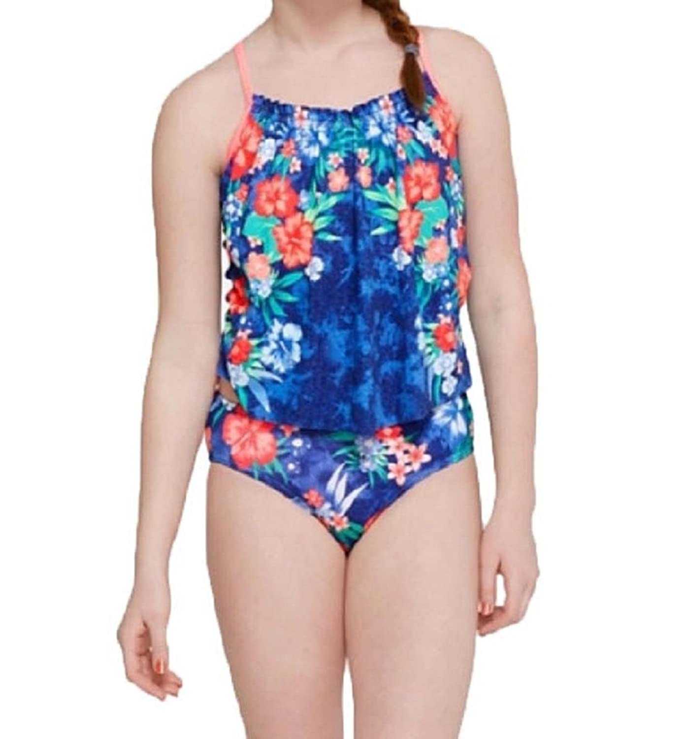 Justice Girl's Tropical Print Tankini Swimsuit