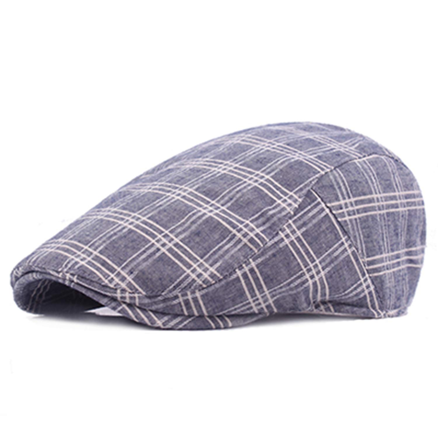 Casual Berets Hats Unisex Summer Sports Berets Caps for Men Women Adjustable Plaid Flat Sun Cap