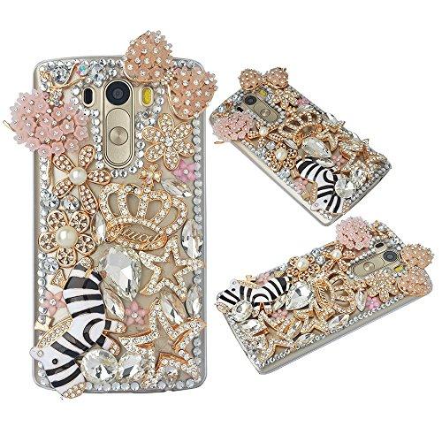 (Spritech(TM Bling Phone Case for LG Leon/LG Tribute 2/C40,3D Handmade Gold Crystal Flower Horse Pattern Accessary Design Clear Cellphone Cover)