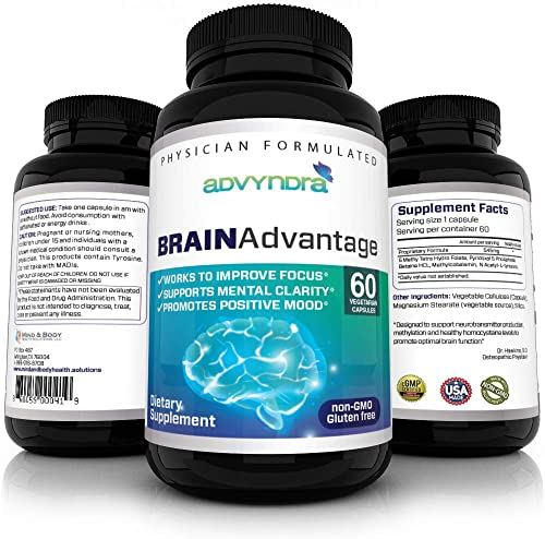 ADVYNDRA Psychiatrist Formulated Brain Supplement – Methyl B12, Methyl Folate, Vitamin B6, L Tyrosine, with Betaine- Supports Focus, Memory, Mood and Stress Tolerance 60 Day Supply