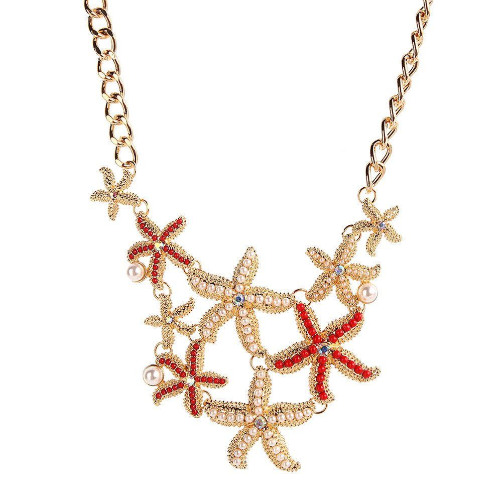 Meiligo Fashion Sea Shell Starfish Faux Pearl Collar Bib Statement Chunky Necklace mlg-79