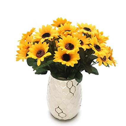 Amazon Conjugal Bliss Artificial Silk Sunflower Flowers Vase