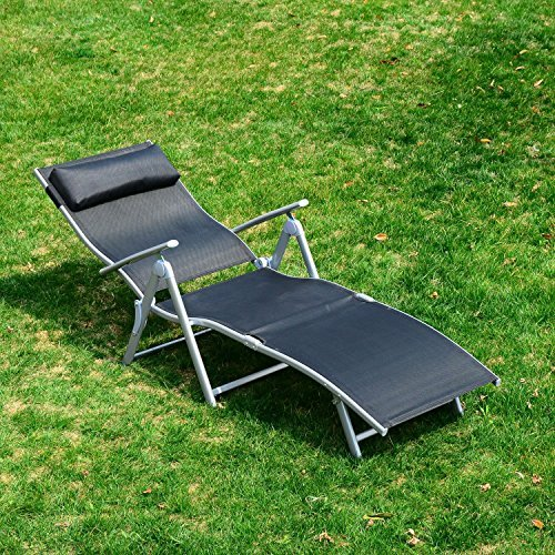 amazoncom outsunny patio reclining chaise lounge chair with cushion black and silver garden u0026 outdoor