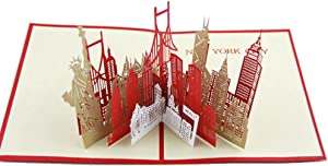 IShareCards Handmade Buildings 3D Pop up Thank You Greeting Cards with Envelope (New York Silhouette)