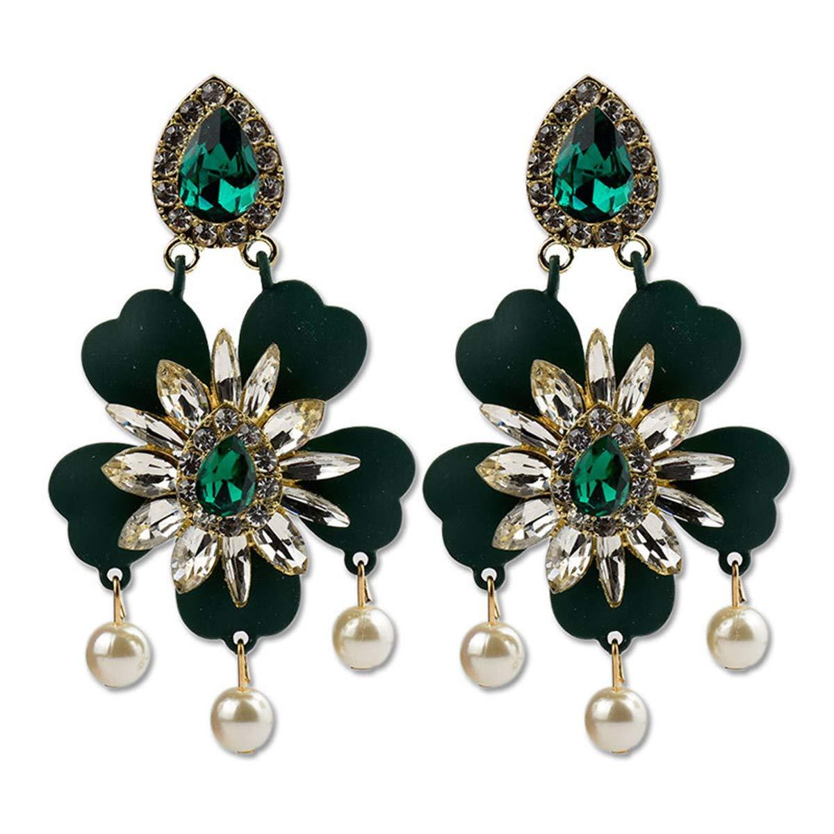 Helloriver Rhinestone Stud Earrings Crystal Flower Stud Earrings