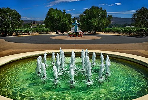 Home Comforts LAMINATED POSTER Landscape Vineyard Fountain Garden Poster 24x16 Adhesive Decal