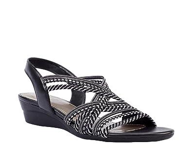 1b69c431d5 Impo Ramsey Stretch Wedge Sandal, Black-White/Black Stretch  Elastic/Calfeline PU
