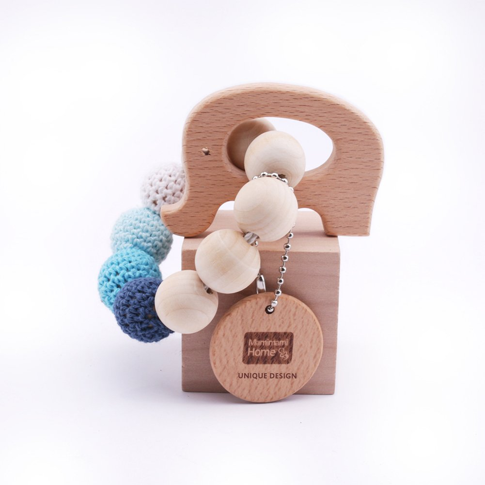 2pc Baby Teether Natural wood Teething Ring Nursing Crochet Beads Wooden Fish Elephant Rattle toy organic Baby toys Mamimami home