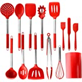 PENGWING 14PCS Red Silicone Kitchen Utensil Set with Holder, Silicone Cooking Utensil Set Heat Resistant Non Stick BPA…