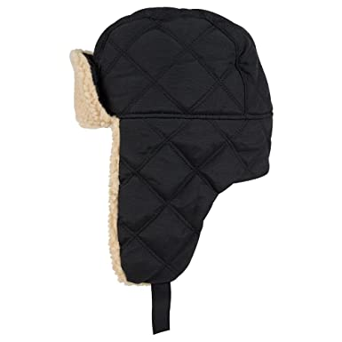 fdceb8dd OTTO Quilted Polyester Shell w/Shearling Lining Three Panel Trapper Hat at  Amazon Men's Clothing store:
