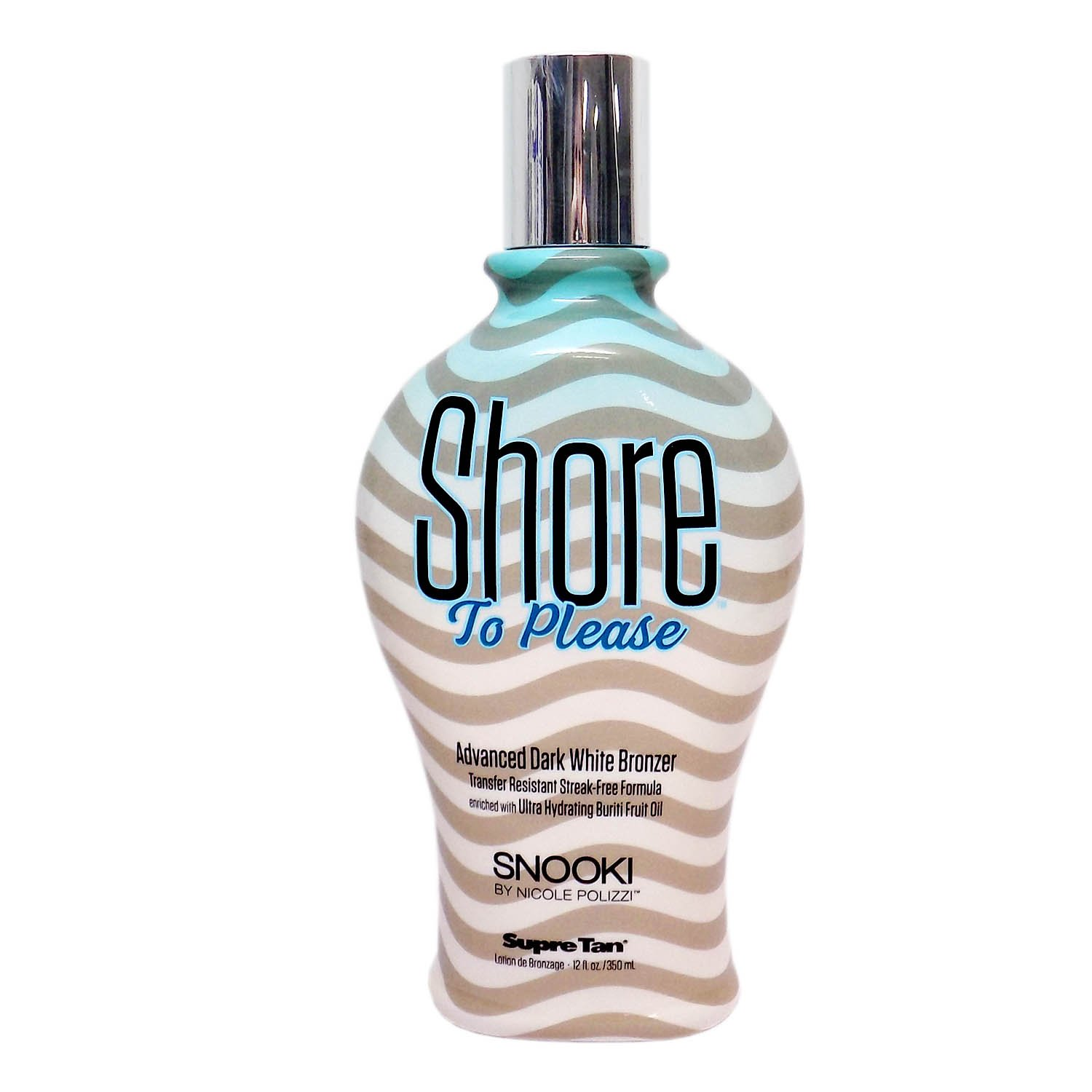 Snooki SHORE TO PLEASE Tanning Bed Lotion (12 ounces) for Indoor or Outdoor Tan. White DHA Bronzer with after tan odor eliminators.