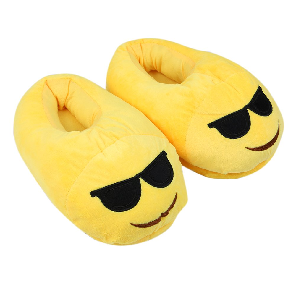 2013Newestseller Emoji Cartoon Slippers,Creative Expression Household Soft Plush Cute Slippers Indoor Home Unisex Teens Adult House Shoes (Sunglasses)