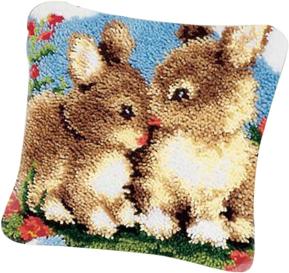 Bonarty DIY Animal Latch Hook Kit Rug Animal Rabbits DIY Needle Craft Shaggy Kids Rug 16X16 inches