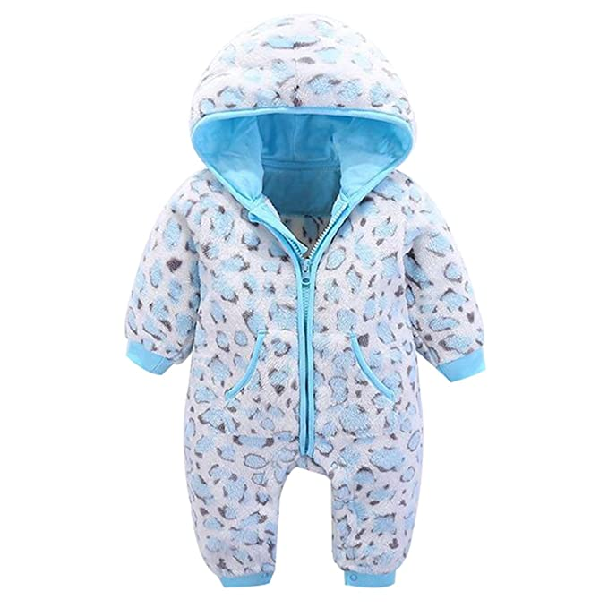 826201a41f82 Unisex Baby Boys Girls Winter Fleece Rompers Infant Warm Bodysuits Hoodies  Toddlers Jumpsuit Blue 3M