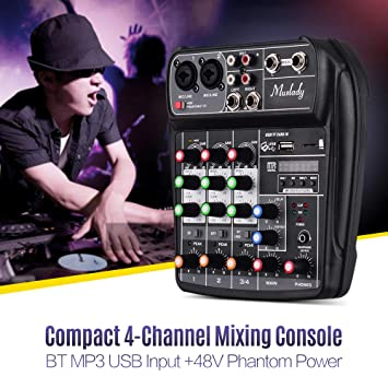 Muslady Consola de Mezcla Tarjeta de Sonido Compacta Mezclador de Audio Digital Entrada de 4 Canales BT MP3 USB + 48V Potencia Fantasma para Grabación ...