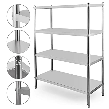 Happybuy Stainless Steel Shelving Units Heavy Duty 4 Tier Shelving Units And Storage Shelf Unit For Kitchen Commercial Office Garage Storage 4 Tier