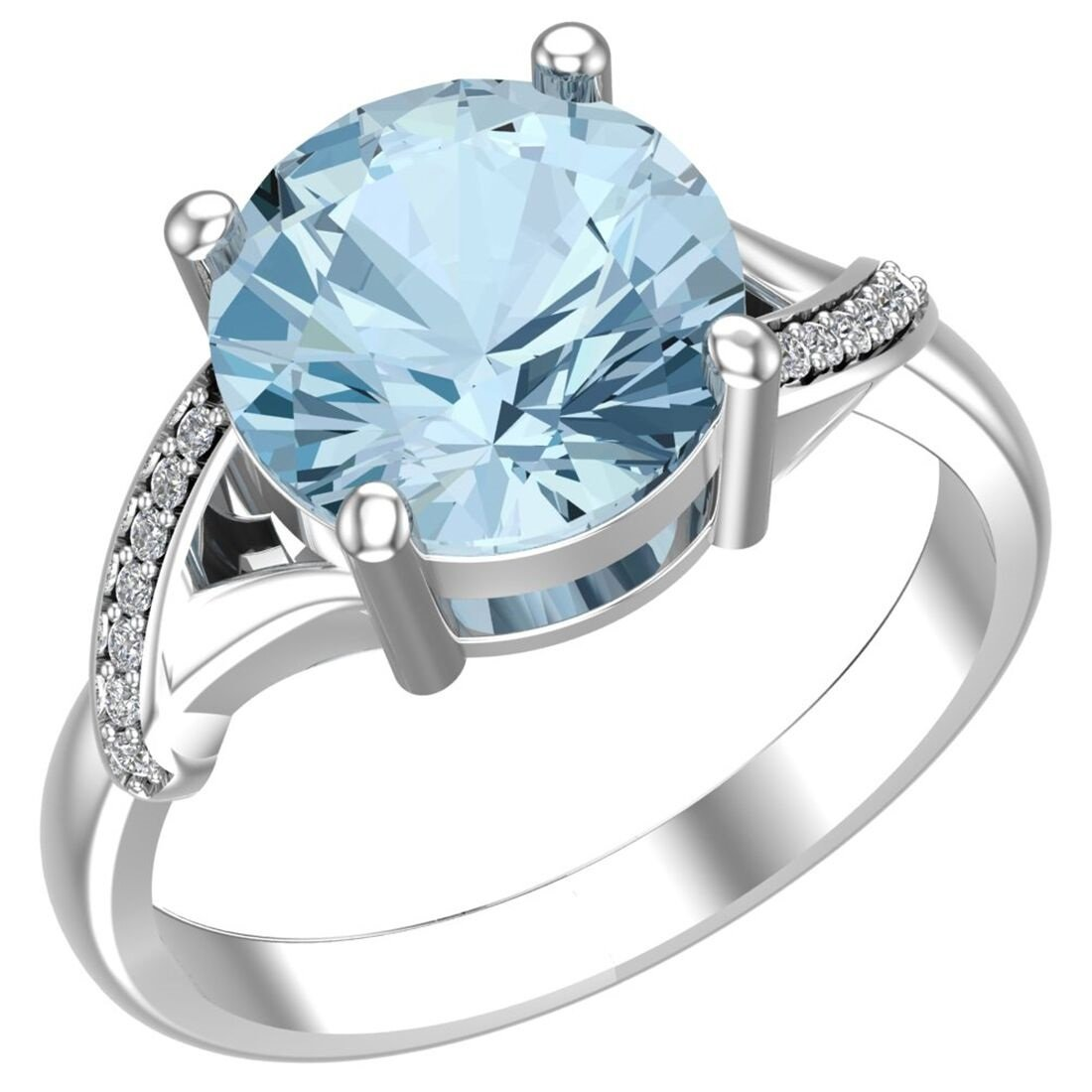 Belinda Jewelz Real Solid 925 Sterling Silver Twisted Band Round Sparkling Gemstone Prong Rhodium Plated Birthstone Engagement Wedding Classic Womens Fine Jewelry Ring Rings, Sky Blue Topaz, Size 8 by Belinda Jewelz (Image #2)