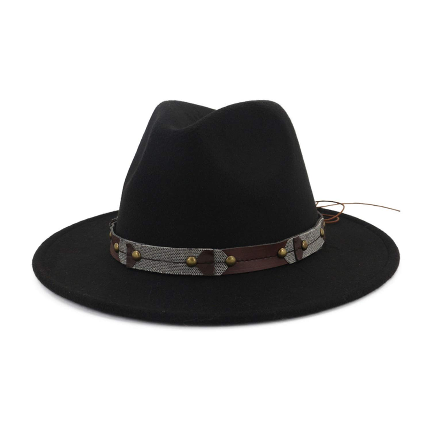 DOSOMI Wide Brim Wool Felt Fedora Men Women Panama Hats Jazz Formal Hat Trilby caps Leather Decorated