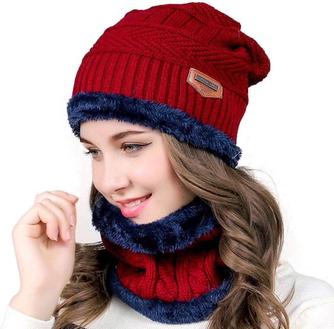 2 pezzi Cappello da Sci allaperto e Set Sciarpa Teschio Lavorato a Maglia con Fodera in Pile Cappello Sciarpa Uomo Cappello Uomo Invernali Beanie in Maglia con Sciarpa