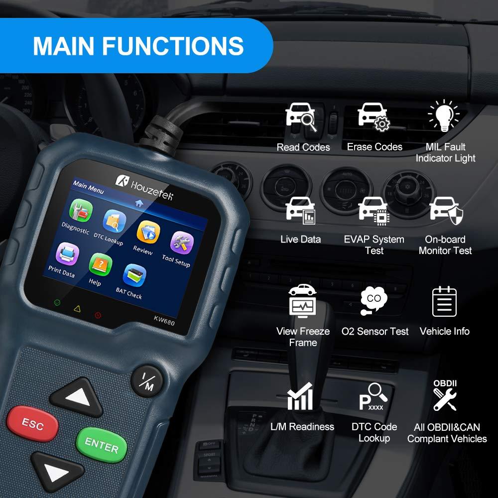 Houzetek OBD2 Scanner, OBD2 Code Reader Upgraded Automotive Car Diagnostic Code Scanner, Professional Engine Fault Code Scan Tool for Most Cars