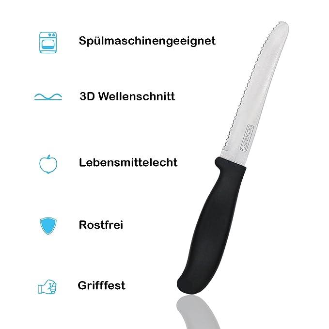 GOURMEO set de 6 cuchillos de mesa dentados de acero inoxidable cromado y mango plástico de alta calidad | cuchillo para untar, cuchillo de pan, ...