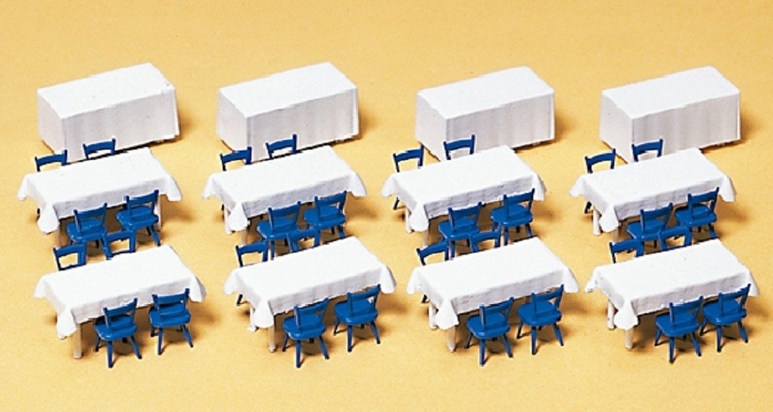 Preiser 17219 Accessories Banquet Tables//Chairs HO Scale Scenery  Set