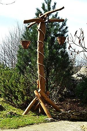 Trade Hub rústico Jardín Lámpara farola con flores y Pergola | linterna de roble o de madera de acacia: Amazon.es: Jardín