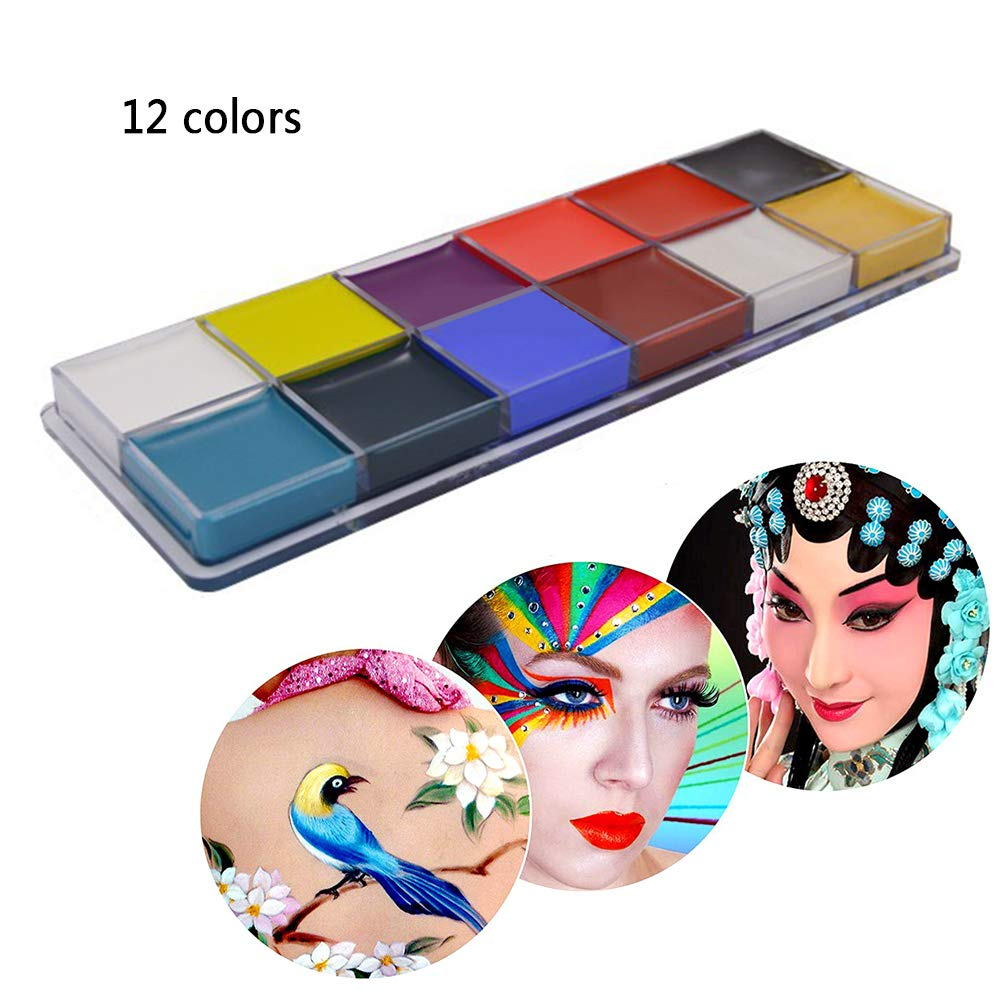 Face Body Paint Non Toxic Halloween Make up Drama Clown Body Oil Painting Kits 12 Flash Colors (1pcs) Ouchver