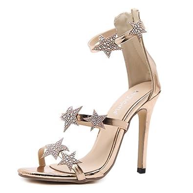 b3a5b37bc007a Amazon.com | FORTUN Women's Stiletto Sexy Back Zipper Sandals Stars ...