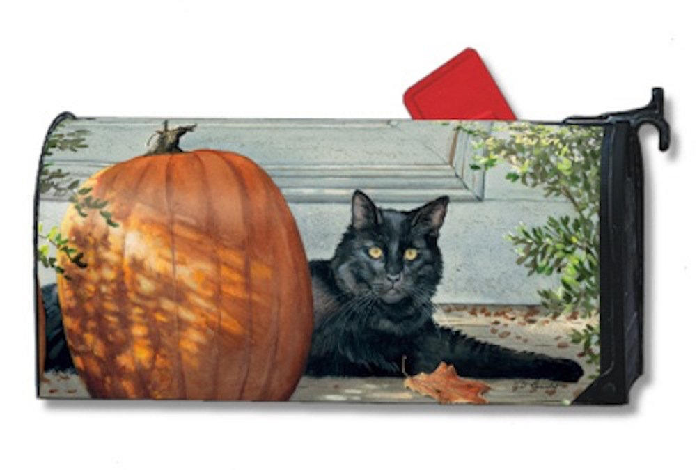 MailWraps Black Cat Mailbox Cover 01014