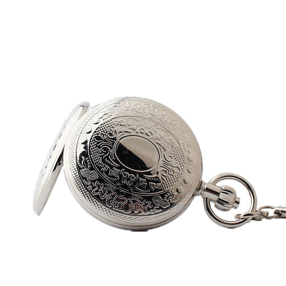 Zxcvlina Classic Smooth Exquisite Silvery Pocket Watch Men Women Creative Mechanical Pocket Watch with Chain for Birthday Gift Suitable for Gift Giving by Zxcvlina (Image #3)