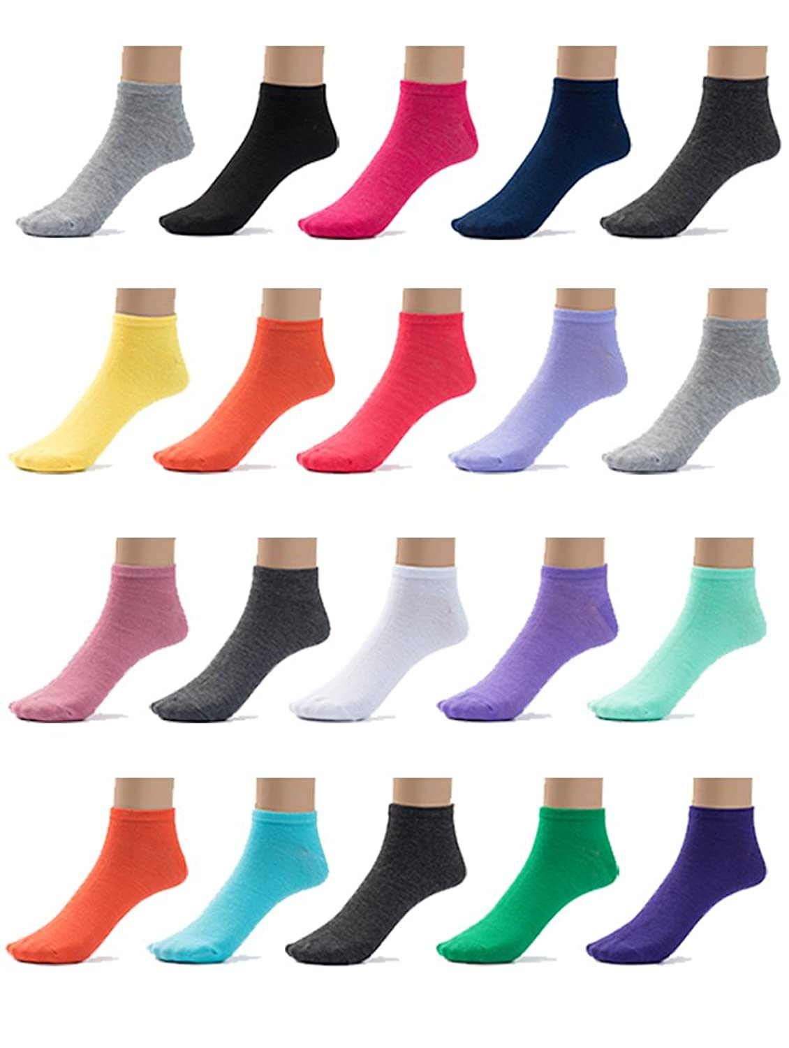 20 Pairs Womens Colorful Patterned Low Cut No Show Socks, Multi Pack by ComfortnFashion