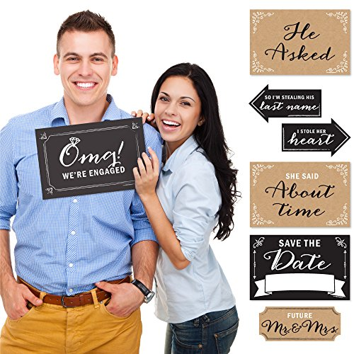 Engagement Announcement - Photo Prop Kit - 10 Count (Engagement Decorations)
