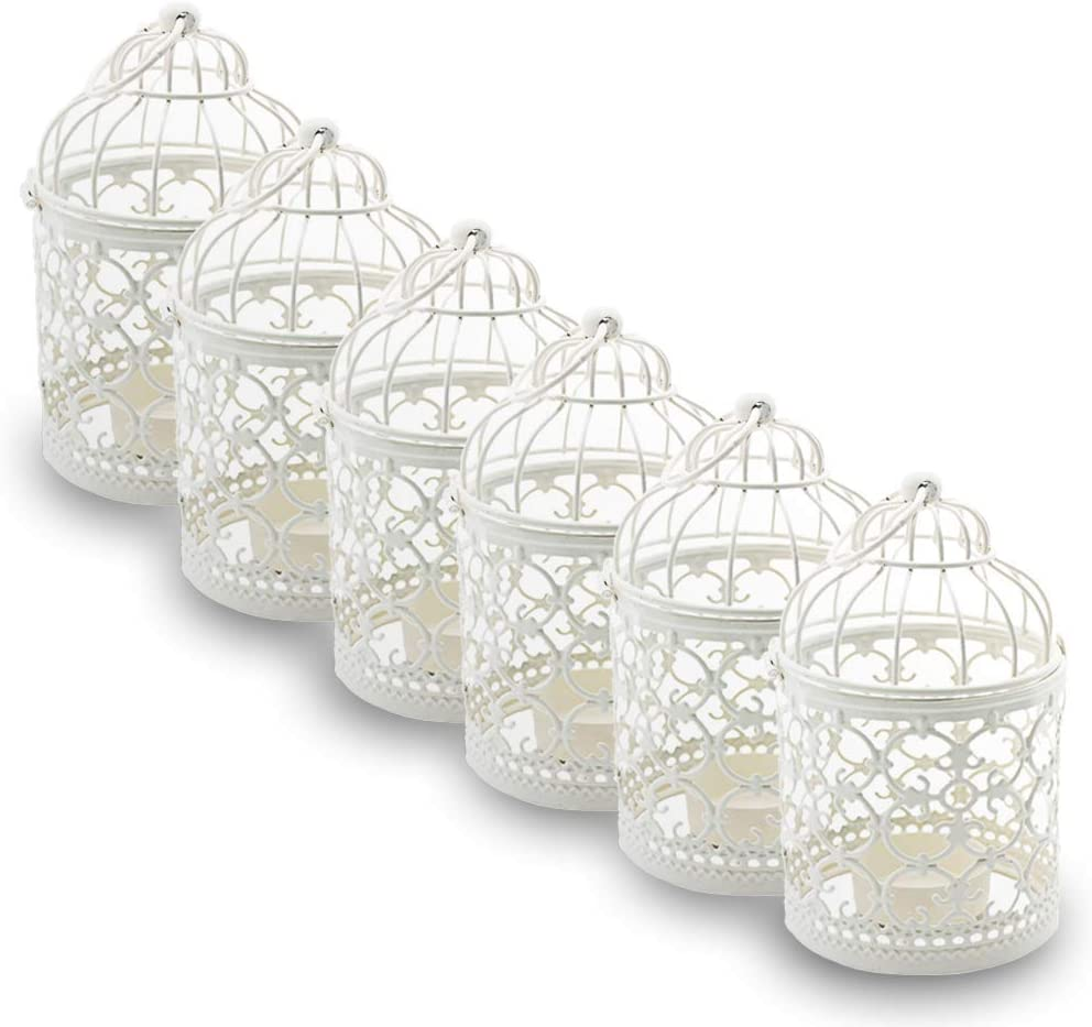Ciaoed Mini Metal Tealight Hanging Birdcage Lantern, Vintage Decorative Centerpieces of Wedding & Party Pack of 6(White)