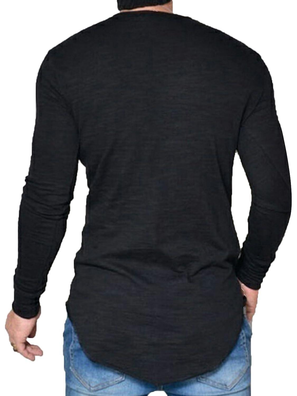 JOKHOO Mens Long Sleeve Hipster Hip Hop Basic Henley T Shirt for Men
