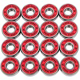 Yellow Jacket Premium Inline Skate Bearings, Roller Skate Bearings, 608, ABEC 11, Racer Red (Pack of 16)