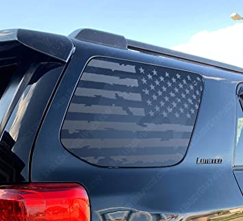 Outdoor Forest Mountain Scene USA Flag Decals for Toyota 4Runner in Matte Black for side windows TF23.MA