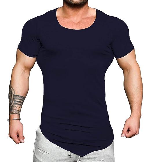 177048dab COOFANDY Men's Bodybuilding Muscle Training Short Sleeve Gym Workout  Fitness T Shirt Dark Blue